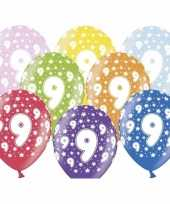 18x stuks ballonnen 9 jaar thema met sterretjes trend