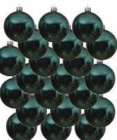 18x turquoise blauwe glazen kerstballen 8 cm glans trend