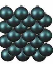 18x turquoise blauwe glazen kerstballen 8 cm mat trend