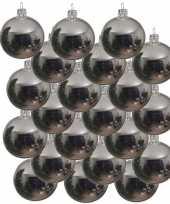 18x zilveren glazen kerstballen 6 cm glans trend