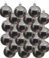 18x zilveren glazen kerstballen 8 cm glans trend