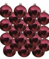18xkerst rode glazen kerstballen 6 cm glans trend