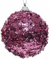 1x fuchsia roze folie kerstballen 8 cm kunststof trend