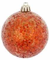 1x kerstballen glitter oranje 8 cm kunststof trend