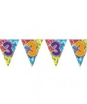 1x mini vlaggenlijn slinger verjaardag versiering 3 jaar trend