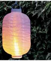 1x stuks luxe solar lampion lampionnen wit met realistisch vlameffect 20 x 30 cm trend