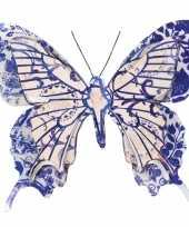 1x tuindecoratie vlinder van metaal blauw creme wit 31 cm trend