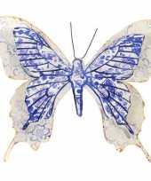 1x tuindecoratie vlinder van metaal blauw wit 31 cm trend