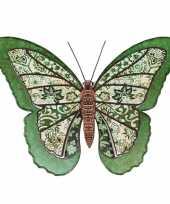1x tuindecoratie vlinder van metaal groen 31 cm trend