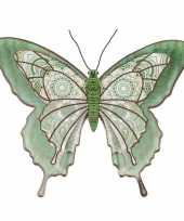1x tuindecoratie vlinder van metaal lichtgroen 31 cm trend