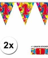 2 gekleurde vlaggenlijnen 1 jaar met sticker trend