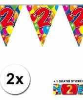 2 gekleurde vlaggenlijnen 2 jaar met sticker trend