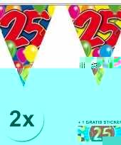 2 gekleurde vlaggenlijnen 25 jaar met sticker trend