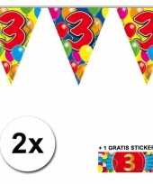 2 gekleurde vlaggenlijnen 3 jaar met sticker trend