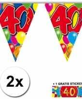 2 gekleurde vlaggenlijnen 40 jaar met sticker trend