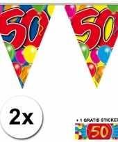 2 gekleurde vlaggenlijnen 50 jaar met sticker trend