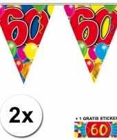 2 gekleurde vlaggenlijnen 60 jaar met sticker trend