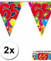 2 gekleurde vlaggenlijnen 65 jaar met sticker trend