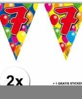 2 gekleurde vlaggenlijnen 7 jaar met sticker trend