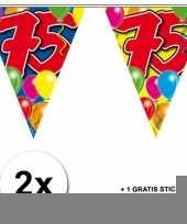 2 gekleurde vlaggenlijnen 75 jaar met sticker trend