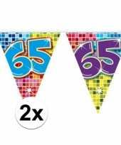 2 mini vlaggenlijn slinger verjaardag versiering 65 jaar trend