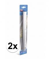 2 zilveren witte bengaalse fakkels 36 cm 60 sec trend