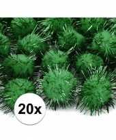 20 donkergroene knutsel pompons 20 mm trend