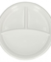 20 plastic wegwerp vakjes bordjes 3 vaks trend