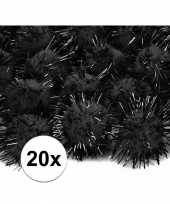 20 zwarte knutsel pompons 20 mm trend