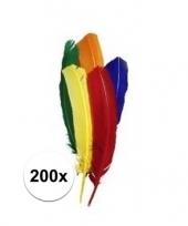 200x gekleurde veertjes 14 cm trend