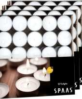 200x witte theelichtjes waxinelichtjes 4 5 branduren in doos trend