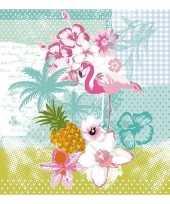 20x flamingo tropische thema servetten 33 x 33 cm trend