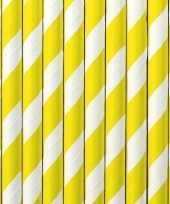 20x papieren rietjes geel wit gestreept trend
