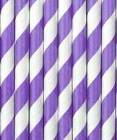 20x papieren rietjes paars wit gestreept trend
