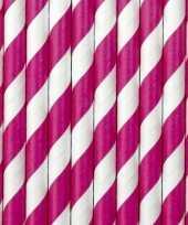 20x papieren rietjes roze wit gestreept trend