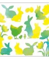 20x pasen servetten geel groen met dieren trend