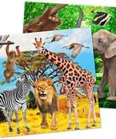 20x safari jungle themafeest servetjes 33 cm trend