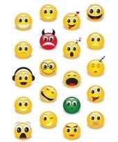 20x smiley emoticons stickers met 3d effect met zacht kunststof trend