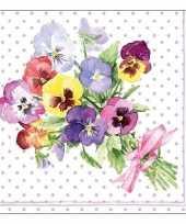 20x viooltjes bloemen voorjaar servetten 33 x 33 cm trend