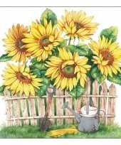 20x zonnebloemen bloemen voorjaar servetten 33 x 33 cm trend