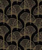 20x zwart gouden ginkgo blad print servetten 33 x 33 cm trend