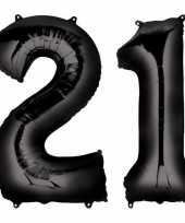 21 jaar zwarte folie ballonnen 88 cm leeftijd cijfer trend