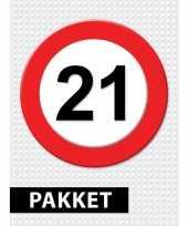 21 jarige verkeerbord decoratie pakket trend