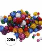 225x knutsel pompons 15 40 mm glitterkleuren trend