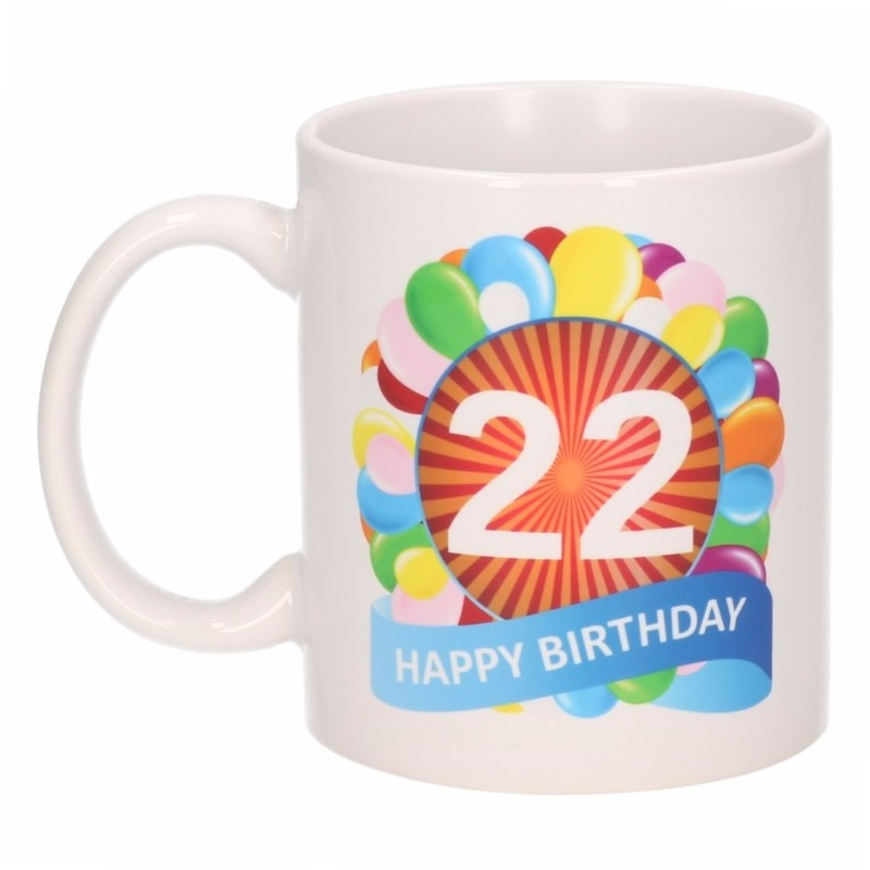 22e verjaardag cadeau beker mok 300 ml trend