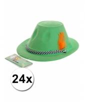 24 oktoberfest hoedjes groen met veer trend
