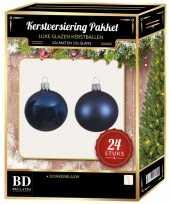 24 stuks glazen kerstballen pakket donkerblauw 6 cm trend