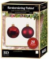 24 stuks glazen kerstballen pakket donkerrood 6 cm trend