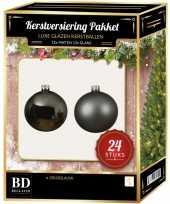 24 stuks glazen kerstballen pakket grijsblauw 6 cm trend