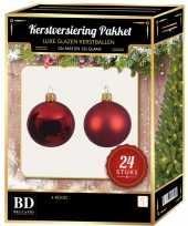 24 stuks glazen kerstballen pakket kerst rood 6 cm trend